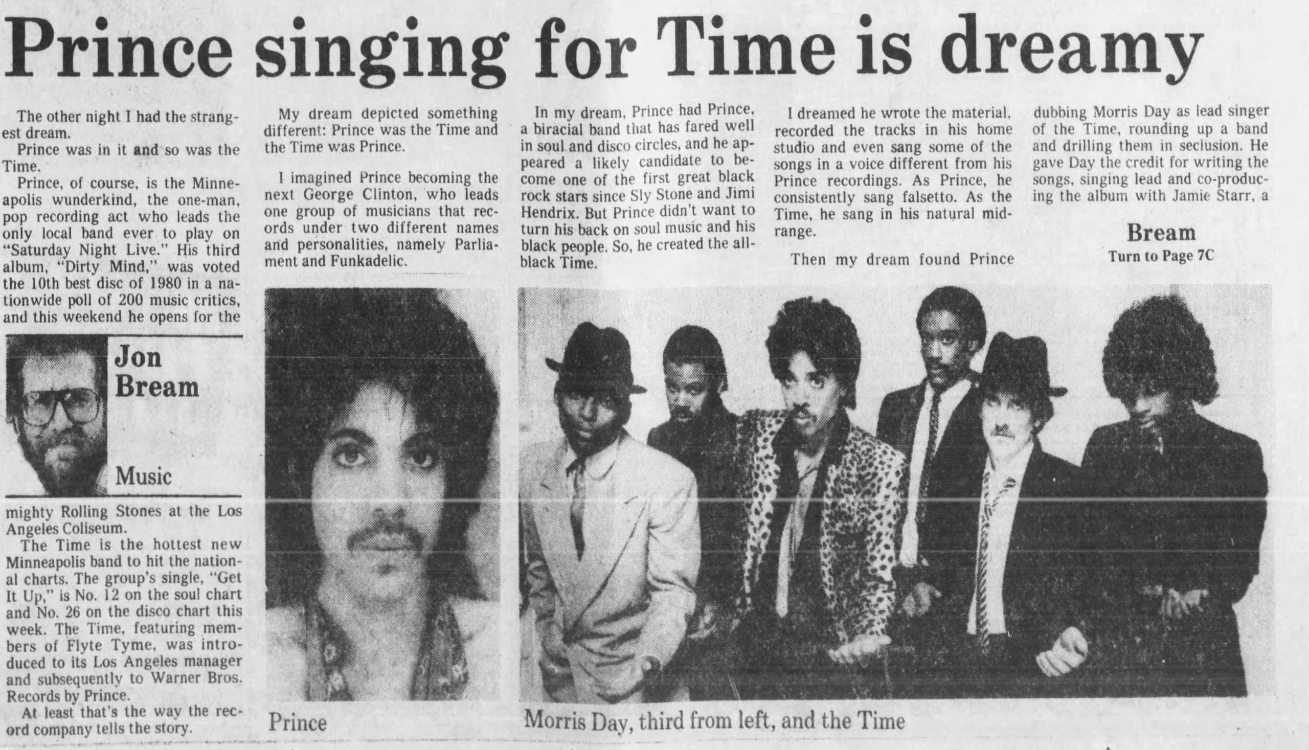 Prince Singing for Time is Dreamy by Jon Bream in The Minneapolis Star, 6 Oct 1981